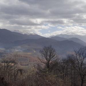 Panorama di media montagna, boschi e cielo con nuvole
